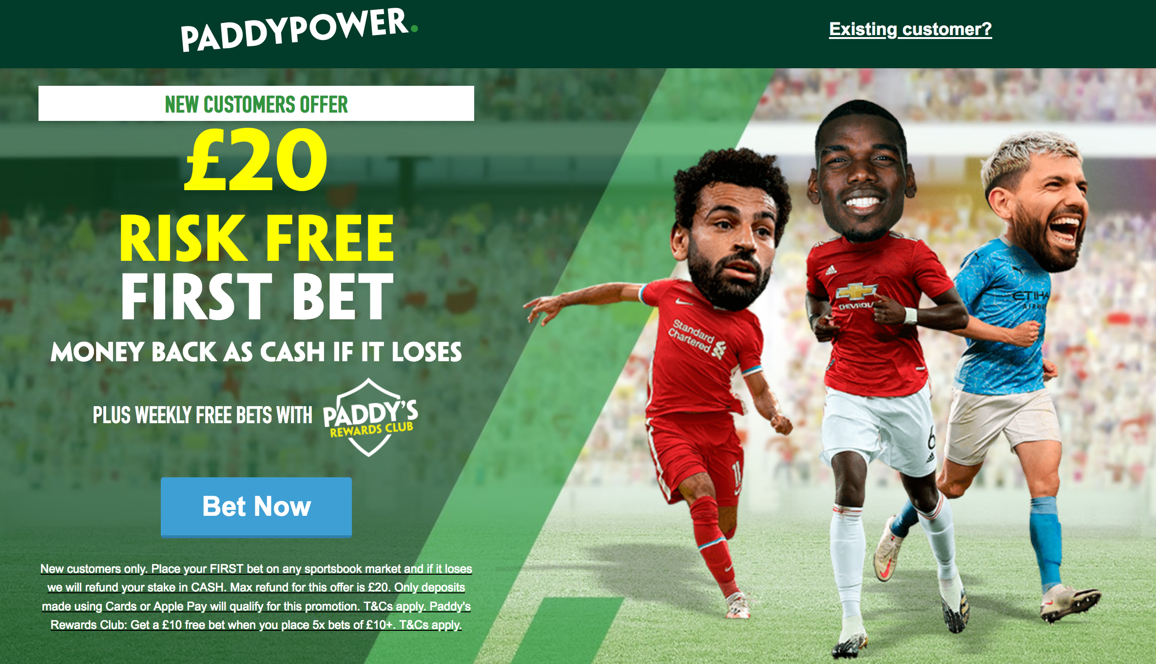 Paddy Power £20 risk free offer