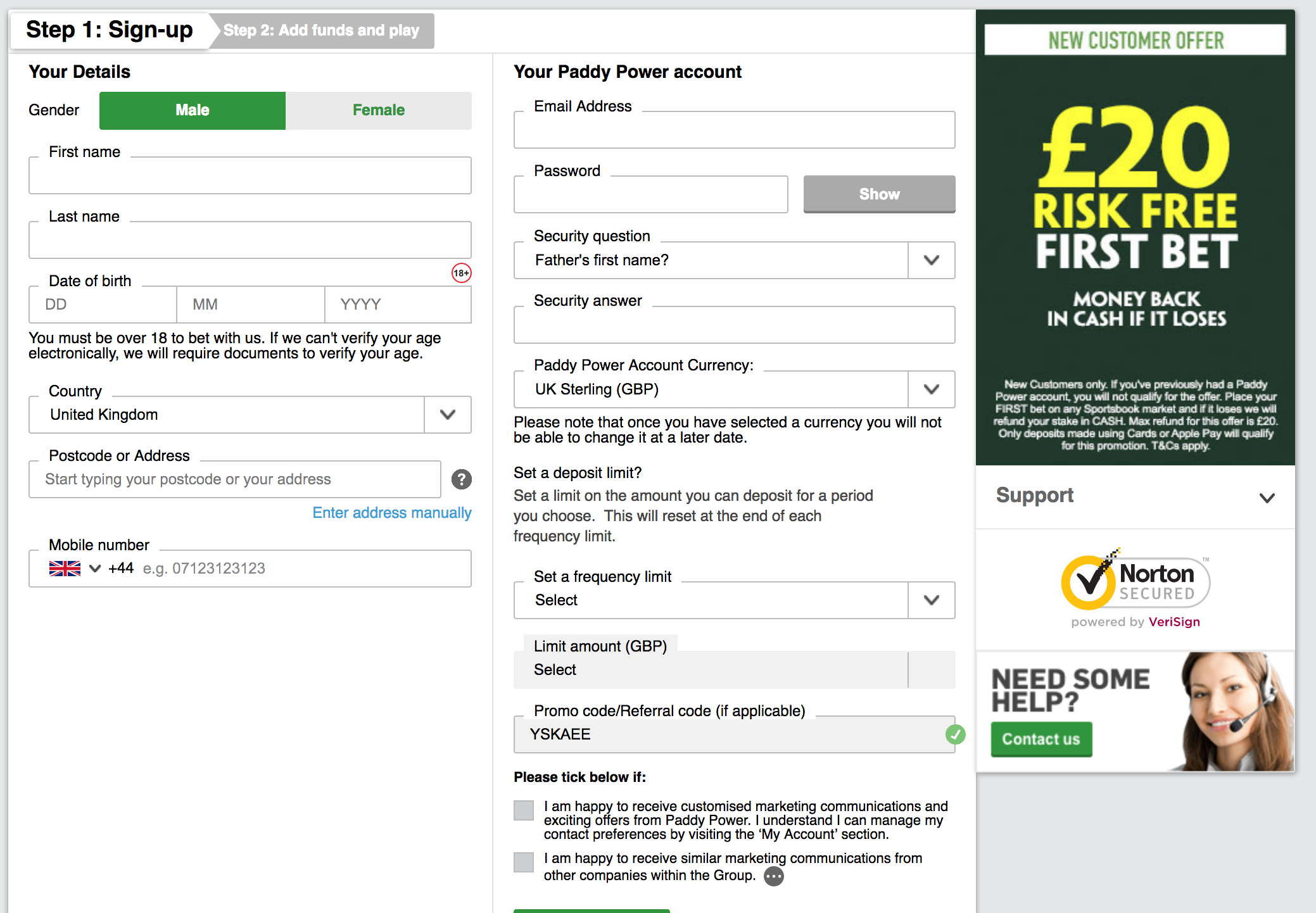 what is the Paddy Power 20 risk free offer?