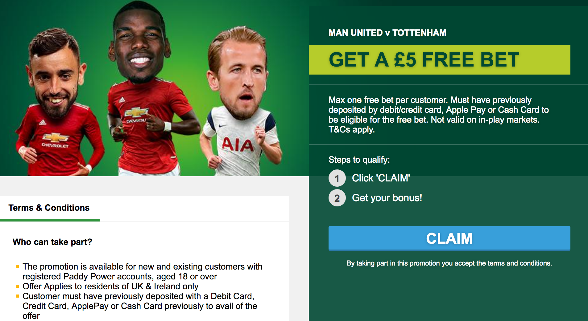 free bet offers from Paddy Power for existing customers